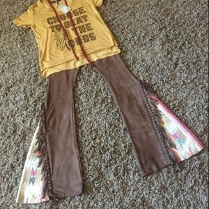 Judith March Jacquard & Suede Flares with Fringe